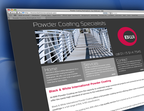 Website Design for Nottingham Powder Coating Company