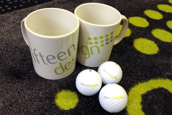 Fifteen Mugs, Rug and Golf Balls