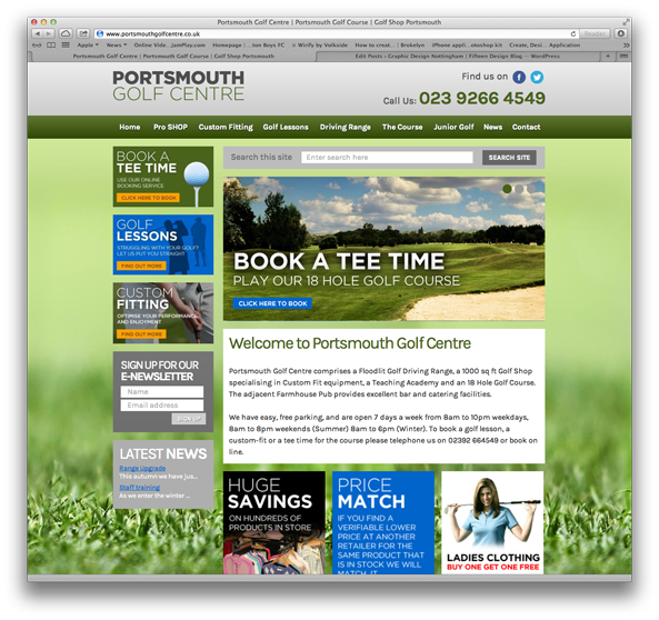 Portsmouth Golf Centre web design