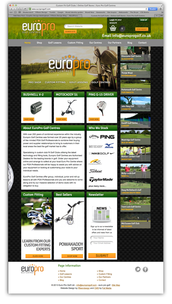 EuroPro Golf Website
