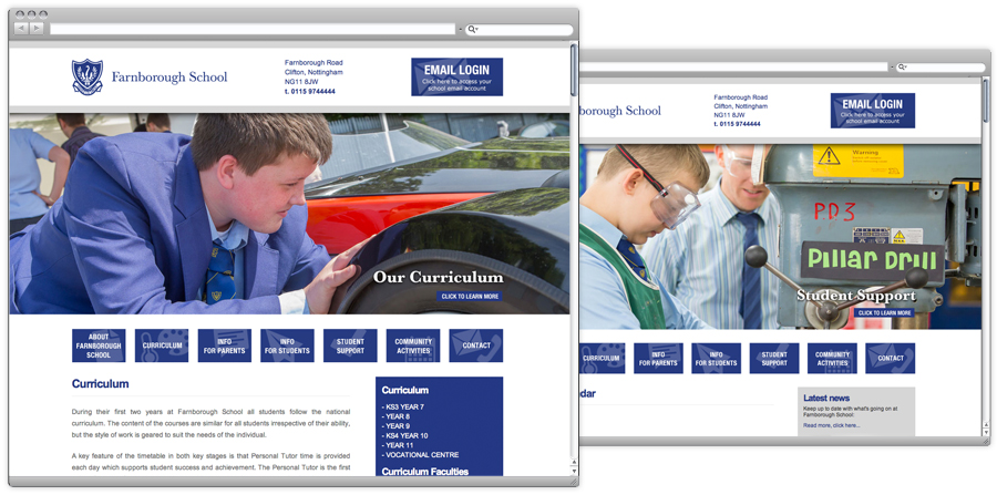 farnborough school web design nottingham