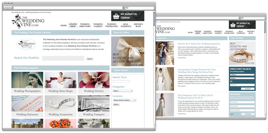 The Wedding Vine e commerce web design nottingham