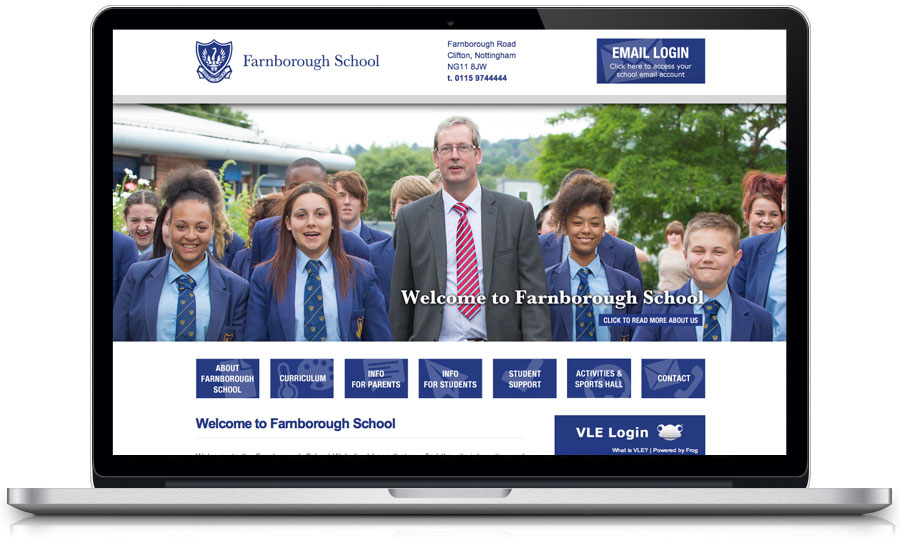farnborough school website design nottingham