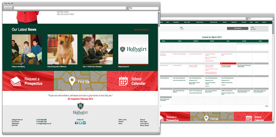 Hollygirt School Web Design