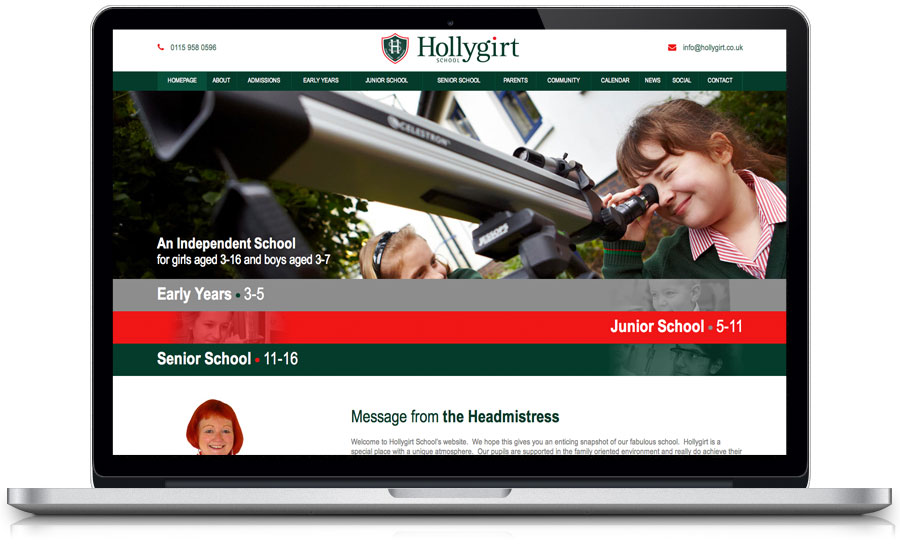 Hollygirt School Website Design Nottingham