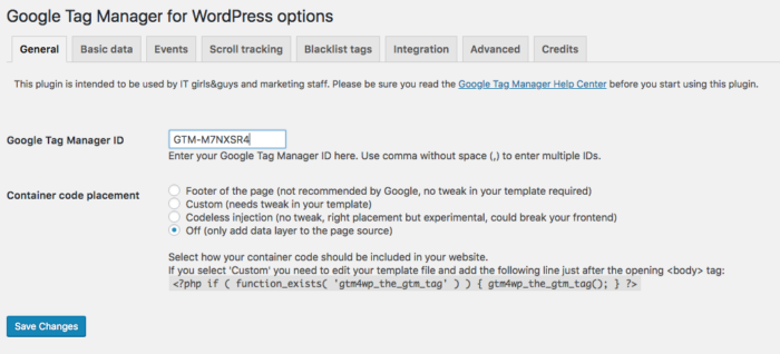 DuracellTomi's Google Tag Manager for WordPress Dashboard